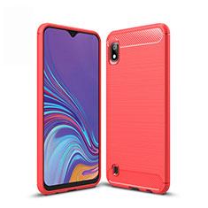 Silikon Hülle Handyhülle Gummi Schutzhülle Tasche Line für Samsung Galaxy A10 Rot