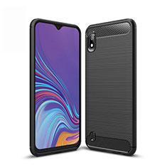 Silikon Hülle Handyhülle Gummi Schutzhülle Tasche Line für Samsung Galaxy A10 Schwarz