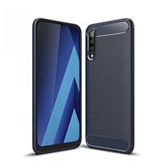 Silikon Hülle Handyhülle Gummi Schutzhülle Tasche Line für Samsung Galaxy A30S Blau