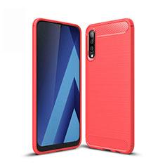 Silikon Hülle Handyhülle Gummi Schutzhülle Tasche Line für Samsung Galaxy A50 Rot