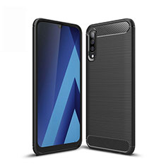 Silikon Hülle Handyhülle Gummi Schutzhülle Tasche Line für Samsung Galaxy A50 Schwarz