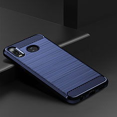 Silikon Hülle Handyhülle Gummi Schutzhülle Tasche Line für Samsung Galaxy A6s Blau