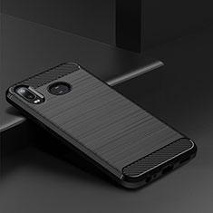 Silikon Hülle Handyhülle Gummi Schutzhülle Tasche Line für Samsung Galaxy A6s Schwarz