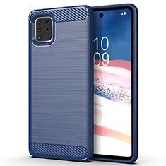 Silikon Hülle Handyhülle Gummi Schutzhülle Tasche Line für Samsung Galaxy A81 Blau