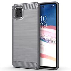 Silikon Hülle Handyhülle Gummi Schutzhülle Tasche Line für Samsung Galaxy A81 Grau