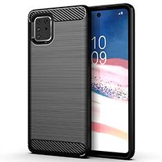 Silikon Hülle Handyhülle Gummi Schutzhülle Tasche Line für Samsung Galaxy A81 Schwarz
