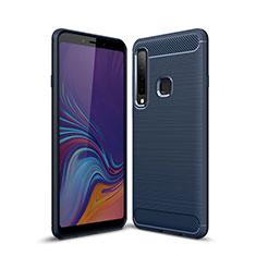 Silikon Hülle Handyhülle Gummi Schutzhülle Tasche Line für Samsung Galaxy A9s Blau