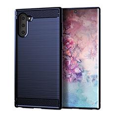 Silikon Hülle Handyhülle Gummi Schutzhülle Tasche Line für Samsung Galaxy Note 10 5G Blau
