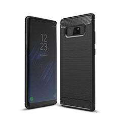 Silikon Hülle Handyhülle Gummi Schutzhülle Tasche Line für Samsung Galaxy Note 8 Duos N950F Schwarz