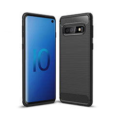 Silikon Hülle Handyhülle Gummi Schutzhülle Tasche Line für Samsung Galaxy S10 5G Schwarz