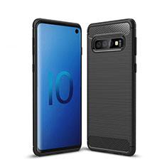 Silikon Hülle Handyhülle Gummi Schutzhülle Tasche Line für Samsung Galaxy S10 Schwarz