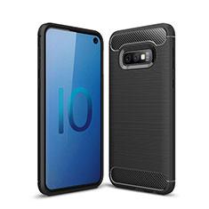 Silikon Hülle Handyhülle Gummi Schutzhülle Tasche Line für Samsung Galaxy S10e Schwarz