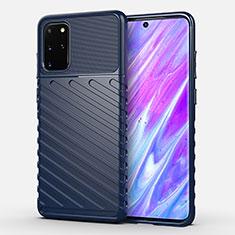Silikon Hülle Handyhülle Gummi Schutzhülle Tasche Line für Samsung Galaxy S20 Plus 5G Blau