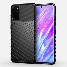 Silikon Hülle Handyhülle Gummi Schutzhülle Tasche Line für Samsung Galaxy S20 Plus 5G Schwarz