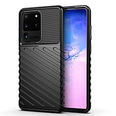 Silikon Hülle Handyhülle Gummi Schutzhülle Tasche Line für Samsung Galaxy S20 Ultra 5G Schwarz