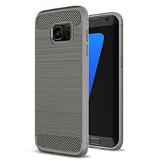 Silikon Hülle Handyhülle Gummi Schutzhülle Tasche Line für Samsung Galaxy S7 Edge G935F Grau