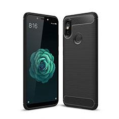 Silikon Hülle Handyhülle Gummi Schutzhülle Tasche Line für Xiaomi Mi A2 Schwarz