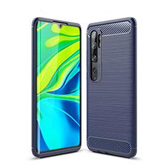 Silikon Hülle Handyhülle Gummi Schutzhülle Tasche Line für Xiaomi Mi Note 10 Blau