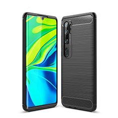 Silikon Hülle Handyhülle Gummi Schutzhülle Tasche Line für Xiaomi Mi Note 10 Schwarz