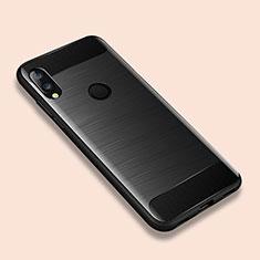 Silikon Hülle Handyhülle Gummi Schutzhülle Tasche Line für Xiaomi Redmi Note 7 Schwarz