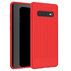 Silikon Hülle Handyhülle Gummi Schutzhülle Tasche Line L01 für Samsung Galaxy S10 Rot