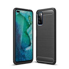 Silikon Hülle Handyhülle Gummi Schutzhülle Tasche Line S01 für Huawei Honor View 30 5G Schwarz
