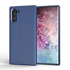 Silikon Hülle Handyhülle Gummi Schutzhülle Tasche Line S01 für Samsung Galaxy Note 10 5G Blau