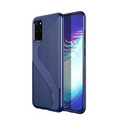 Silikon Hülle Handyhülle Gummi Schutzhülle Tasche Line S01 für Samsung Galaxy S20 Plus 5G Blau