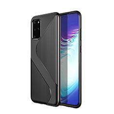 Silikon Hülle Handyhülle Gummi Schutzhülle Tasche Line S01 für Samsung Galaxy S20 Plus 5G Schwarz