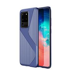 Silikon Hülle Handyhülle Gummi Schutzhülle Tasche Line S01 für Samsung Galaxy S20 Ultra 5G Blau