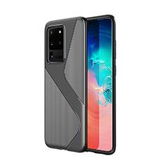 Silikon Hülle Handyhülle Gummi Schutzhülle Tasche Line S01 für Samsung Galaxy S20 Ultra 5G Schwarz