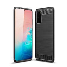 Silikon Hülle Handyhülle Gummi Schutzhülle Tasche Line S02 für Samsung Galaxy S20 5G Schwarz