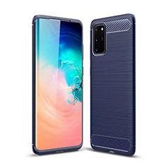 Silikon Hülle Handyhülle Gummi Schutzhülle Tasche Line S02 für Samsung Galaxy S20 Plus 5G Blau