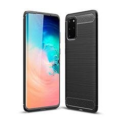 Silikon Hülle Handyhülle Gummi Schutzhülle Tasche Line S02 für Samsung Galaxy S20 Plus 5G Schwarz