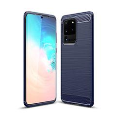 Silikon Hülle Handyhülle Gummi Schutzhülle Tasche Line S02 für Samsung Galaxy S20 Ultra 5G Blau