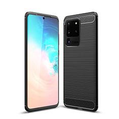 Silikon Hülle Handyhülle Gummi Schutzhülle Tasche Line S02 für Samsung Galaxy S20 Ultra 5G Schwarz