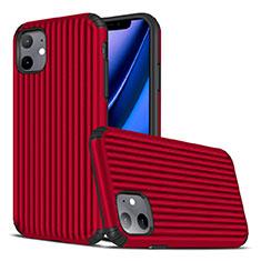 Silikon Hülle Handyhülle Gummi Schutzhülle Tasche Line Z01 für Apple iPhone 11 Rot