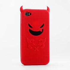 Silikon Hülle Handyhülle Gummi Schutzhülle Teufel für Apple iPhone 4 Rot