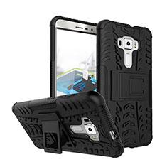Silikon Hülle Handyhülle Gummi Stand Schutzhülle für Asus Zenfone 3 ZE552KL Schwarz