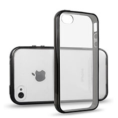 Silikon Hülle Handyhülle Rahmen Schutzhülle Durchsichtig Transparent Matt für Apple iPhone 4 Schwarz