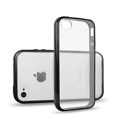 Silikon Hülle Handyhülle Rahmen Schutzhülle Durchsichtig Transparent Matt für Apple iPhone 4S Schwarz