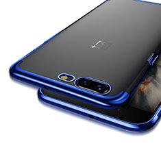 Silikon Hülle Handyhülle Rahmen Schutzhülle Durchsichtig Transparent Matt für OnePlus 5 Blau