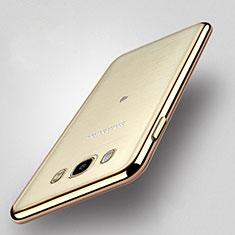 Silikon Hülle Handyhülle Rahmen Schutzhülle Durchsichtig Transparent Matt für Samsung Galaxy J5 Duos (2016) Gold