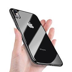 Silikon Hülle Handyhülle Rahmen Schutzhülle Durchsichtig Transparent Spiegel 360 Grad C02 für Apple iPhone Xs Max Schwarz