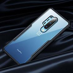Silikon Hülle Handyhülle Rahmen Schutzhülle Durchsichtig Transparent Spiegel 360 Grad für OnePlus 8 Pro Schwarz