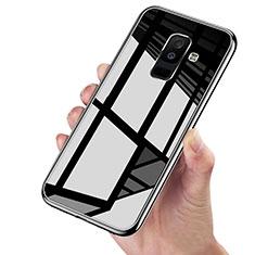 Silikon Hülle Handyhülle Rahmen Schutzhülle Durchsichtig Transparent Spiegel 360 Grad für Samsung Galaxy A6 Plus (2018) Schwarz