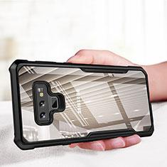 Silikon Hülle Handyhülle Rahmen Schutzhülle Durchsichtig Transparent Spiegel 360 Grad für Samsung Galaxy Note 9 Schwarz