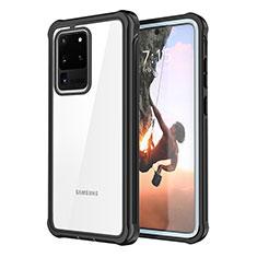 Silikon Hülle Handyhülle Rahmen Schutzhülle Durchsichtig Transparent Spiegel 360 Grad für Samsung Galaxy S20 Ultra 5G Schwarz