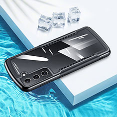 Silikon Hülle Handyhülle Rahmen Schutzhülle Durchsichtig Transparent Spiegel 360 Grad Ganzkörper für Samsung Galaxy S21 5G Schwarz