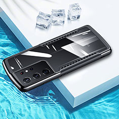 Silikon Hülle Handyhülle Rahmen Schutzhülle Durchsichtig Transparent Spiegel 360 Grad Ganzkörper für Samsung Galaxy S21 Ultra 5G Schwarz